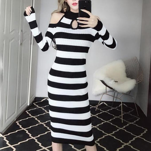 Striped Long Slim Dress SD00489
