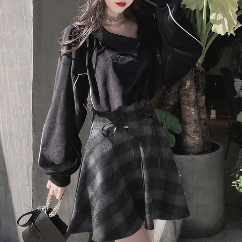 Velvet Witch Face Sweater Plaid Grey Skirt Set SD00341