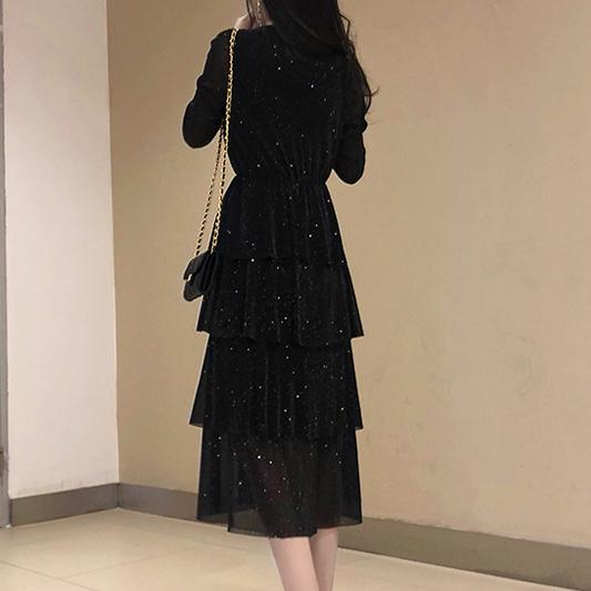 Black Mesh Long Ruffle Skirt Dress SD00493 - SYNDROME - Cute Kawaii Harajuku Street Fashion Store