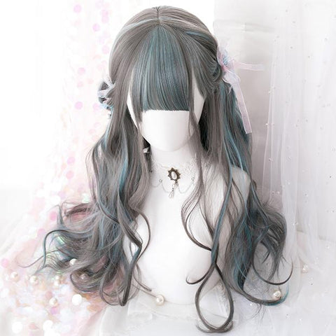 Gradient Green Grey Wave Long Wig SD00447 - SYNDROME - Cute Kawaii Harajuku Street Fashion Store