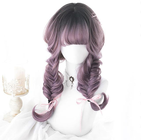 Gradient Purple Black Curly Long Wig SD00639