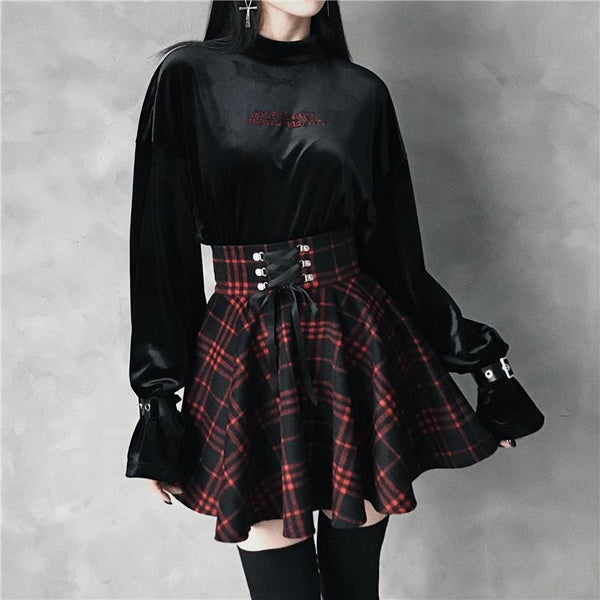 Black Red Plaid Ribbon Skirt SD00452 - SYNDROME - Cute Kawaii Harajuku Street Fashion Store