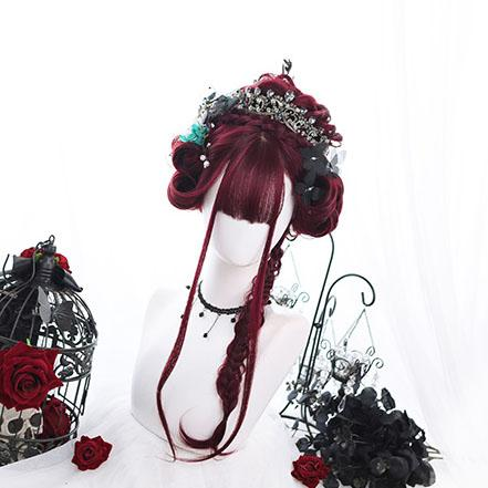 Elegant Bordeaux Red Wig SD01444