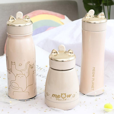 Meow Neko Stainless Steel Drink Bottles SD01367 - SYNDROME - Cute Kawaii Harajuku Street Fashion Store