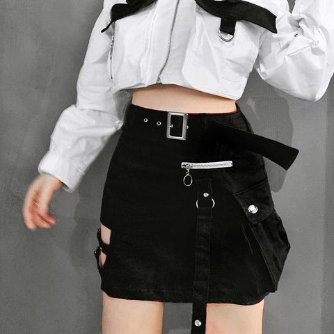 Punk Belt Zipper Skirt SD01227 - SYNDROME - Cute Kawaii Harajuku Street Fashion Store