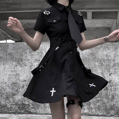 Cross Black Uniform Dress SD01905 - SYNDROME - Cute Kawaii Harajuku Street Fashion Store