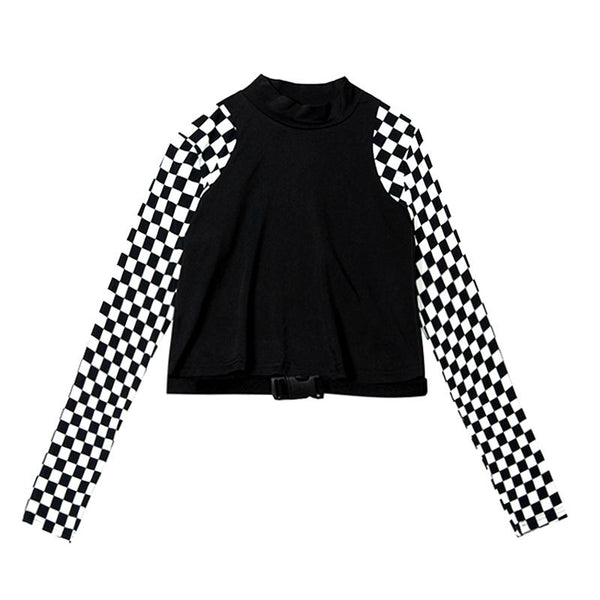 Checkered Sleeve Top SD00112 - SYNDROME - Cute Kawaii Harajuku Street Fashion Store
