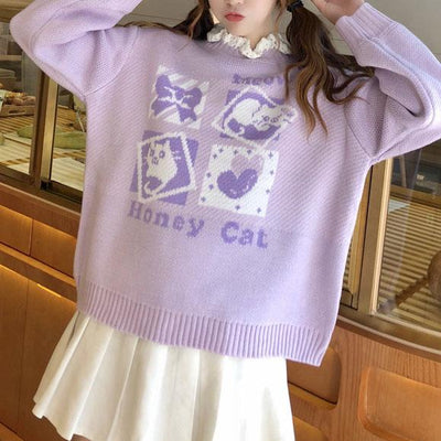 Knitted Honey Cat Sweater SD00560 - SYNDROME - Cute Kawaii Harajuku Street Fashion Store
