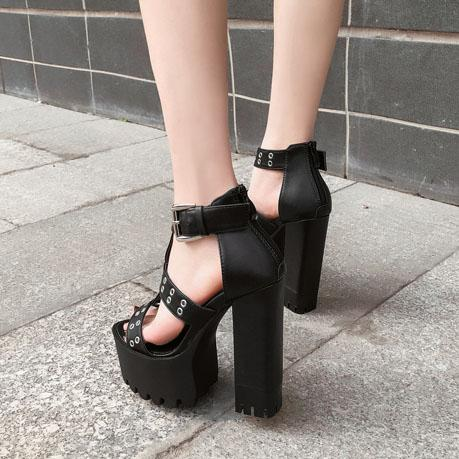 Round Hole Strap High-Heel Shoes SD01440 - SYNDROME - Cute Kawaii Harajuku Street Fashion Store