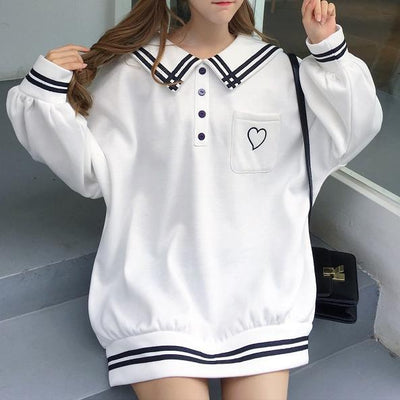 Heart Pocket Striped Loose Sweater SD00597 - SYNDROME - Cute Kawaii Harajuku Street Fashion Store