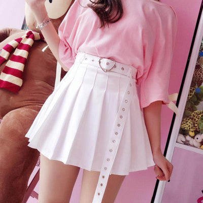 Heart Belt Pleated Skirt SD00978 - SYNDROME - Cute Kawaii Harajuku Street Fashion Store