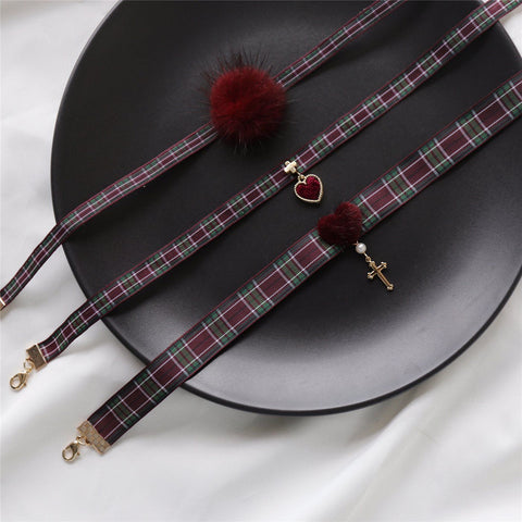Plaid Retro Red Collar SD00039