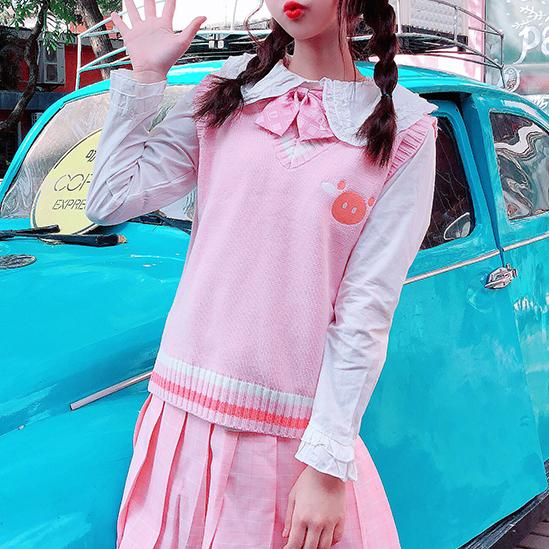 Embroidered Knitted Vest SD00836 - SYNDROME - Cute Kawaii Harajuku Street Fashion Store