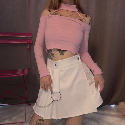 Half Pleated Punk Skirt SD00955 - SYNDROME - Cute Kawaii Harajuku Street Fashion Store
