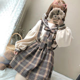 Plaid Lantern Sleeve Skirt/Sweater SD00082 - SYNDROME - Cute Kawaii Harajuku Street Fashion Store