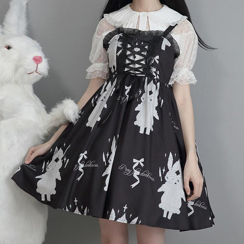 Twin Bunny Pray For Darkness Strap Dress SD02434 - SYNDROME - Cute Kawaii Harajuku Street Fashion Store