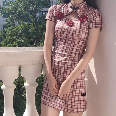 Rose Plaid Dress SD00116 - SYNDROME - Cute Kawaii Harajuku Street Fashion Store