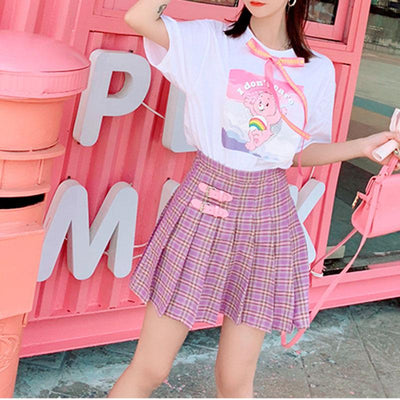 Double Belts Pleated Skirt SD01182 - SYNDROME - Cute Kawaii Harajuku Street Fashion Store