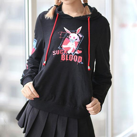 Suck Blood Bunny Ears Hoodie Sweater SD00343 - SYNDROME - Cute Kawaii Harajuku Street Fashion Store