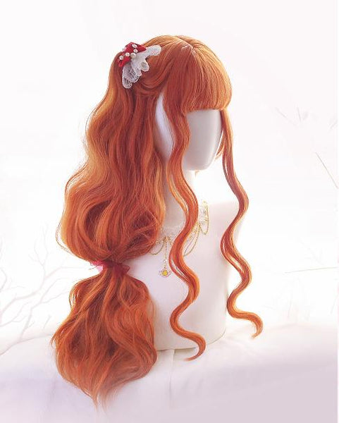 Orange Long Curly Wig SD00402