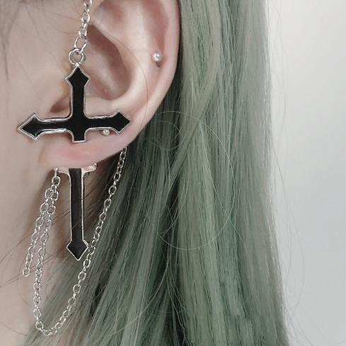 Black Cross Earring SD01282 - SYNDROME - Cute Kawaii Harajuku Street Fashion Store