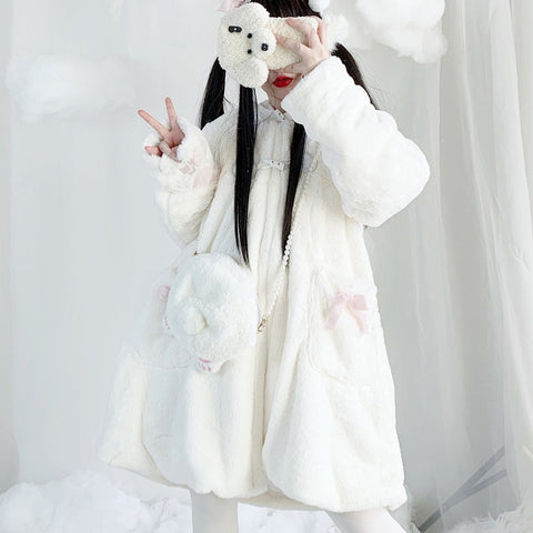 Neko Soft Plush Coat SD01414 - SYNDROME - Cute Kawaii Harajuku Street Fashion Store
