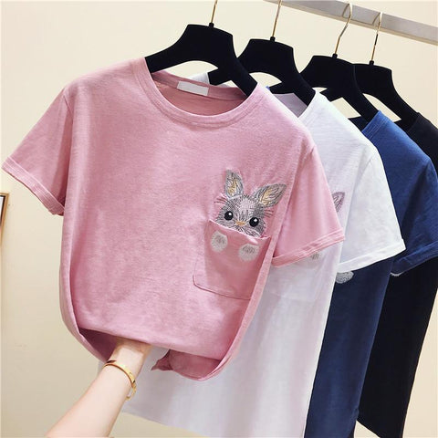 Bunny Pocket T-Shirt SD00949 - SYNDROME - Cute Kawaii Harajuku Street Fashion Store
