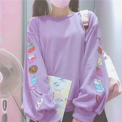 Sweets Printed Loose Sleeve Sweater SD00294 - SYNDROME - Cute Kawaii Harajuku Street Fashion Store