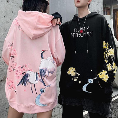 White Stork Blossom Hoodie SD00748 - SYNDROME - Cute Kawaii Harajuku Street Fashion Store