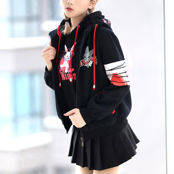Yandere Bunny Ears Hoodie Sweater SD01191 - SYNDROME - Cute Kawaii Harajuku Street Fashion Store