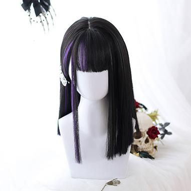 Dark Purple Black Straight Wig SD00980 - SYNDROME - Cute Kawaii Harajuku Street Fashion Store