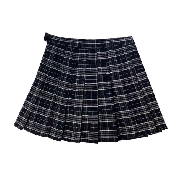 Navy Blue Plaid Pleated High Waist Skirt SD00619