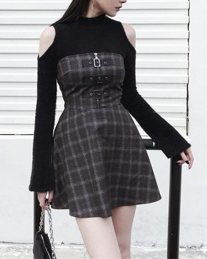 Plaid Dark Strap Dress SD01573