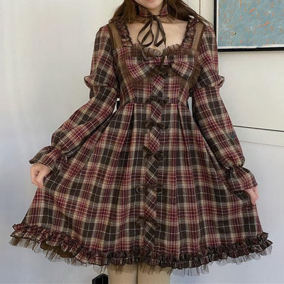 Chocolate Plaid Dress SD00258 - SYNDROME - Cute Kawaii Harajuku Street Fashion Store