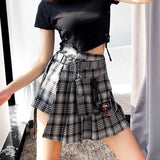 Black Grey Plaid Pleated High Waist Skirt SD00648 - SYNDROME - Cute Kawaii Harajuku Street Fashion Store