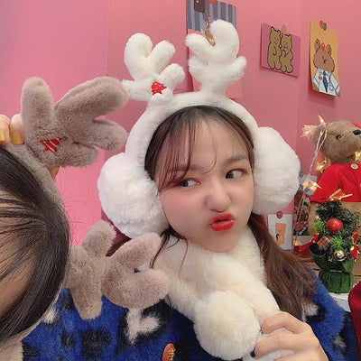 Soft Plush Antler Earmuffs SD01768 - SYNDROME - Cute Kawaii Harajuku Street Fashion Store