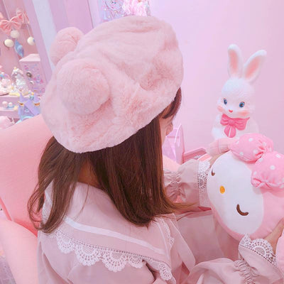 Plush Ball Ears Beret SD00623 - SYNDROME - Cute Kawaii Harajuku Street Fashion Store