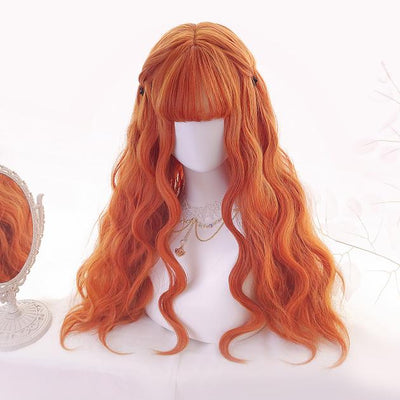 Orange Long Curly Wig SD00402 - SYNDROME - Cute Kawaii Harajuku Street Fashion Store