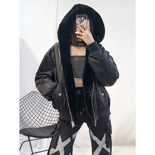 Black Retro Bomber Jacket SD00615 - SYNDROME - Cute Kawaii Harajuku Street Fashion Store