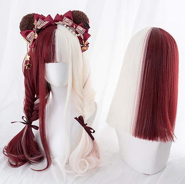 Harajuku Red White Split Wig SD01740