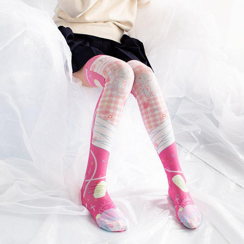 Game Over Teddy Bear Hug Thigh High Socks SD00598 - SYNDROME - Cute Kawaii Harajuku Street Fashion Store