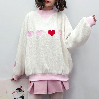 Embroidered Heart Loose Sweater SD00588 - SYNDROME - Cute Kawaii Harajuku Street Fashion Store