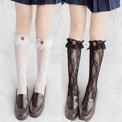 Strawberry Lace Knee Socks SD00661 - SYNDROME - Cute Kawaii Harajuku Street Fashion Store