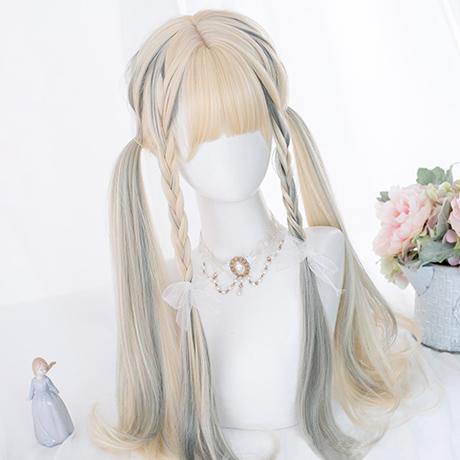 Harajuku Gradient Mixed Blonde Green Wig SD01739