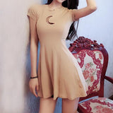 Moon Keyhole Short Sleeve Dress SD00965