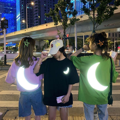 Reflective Moon T-shirt SD01117 - SYNDROME - Cute Kawaii Harajuku Street Fashion Store