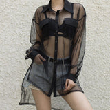 Black Mesh Blouse SD01229 - SYNDROME - Cute Kawaii Harajuku Street Fashion Store