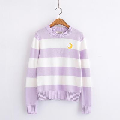 Striped Moon Embroidered Sweater SD00425