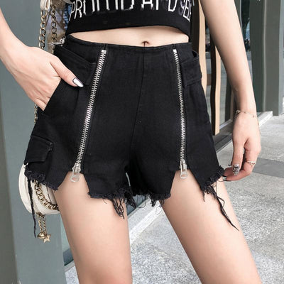 Ripped Double Zipper Shorts SD01522 - SYNDROME - Cute Kawaii Harajuku Street Fashion Store