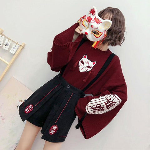 Kitsune Kami Sweater SD01613 - SYNDROME - Cute Kawaii Harajuku Street Fashion Store